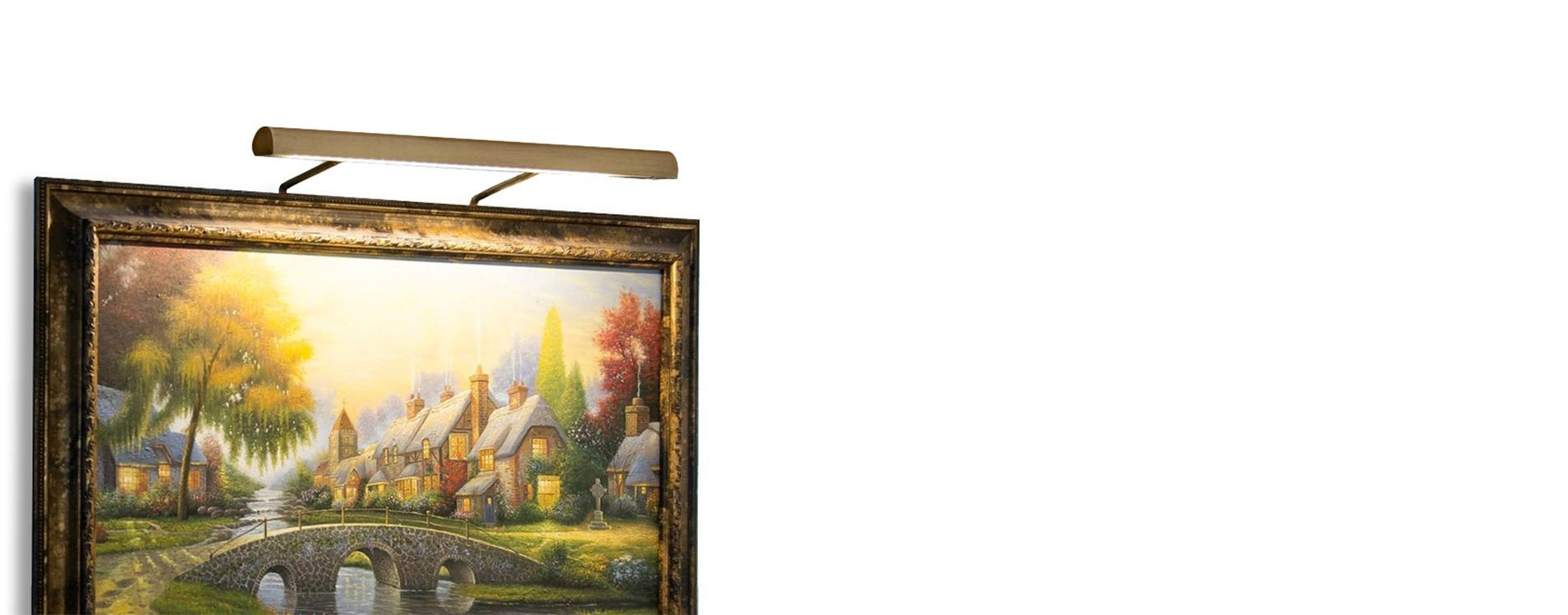 Customizable Classic Battery Operated Art Light in Antique Brass