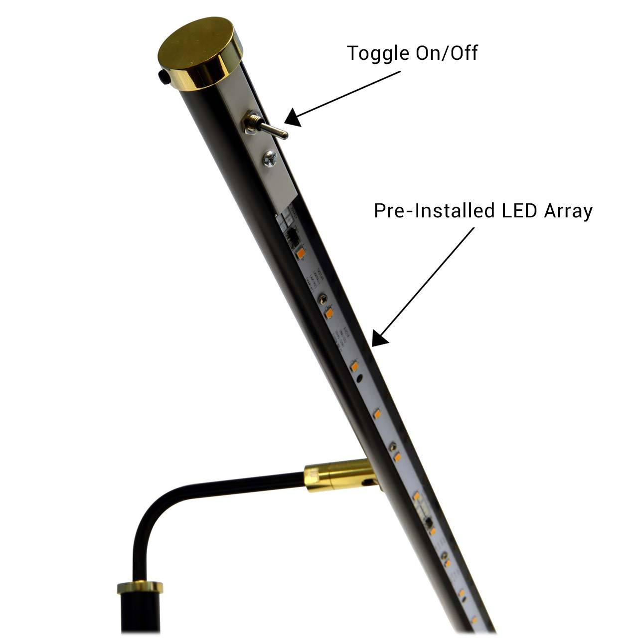 19 Quot 4 Quot Height Led Piano Lamp Black Brass Accents