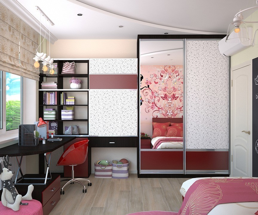 accented pink room with red flares throughout