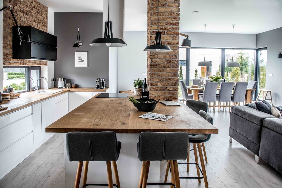 Nordic Style kitchen with pendant lights