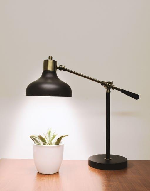black lamp on desk next a plant