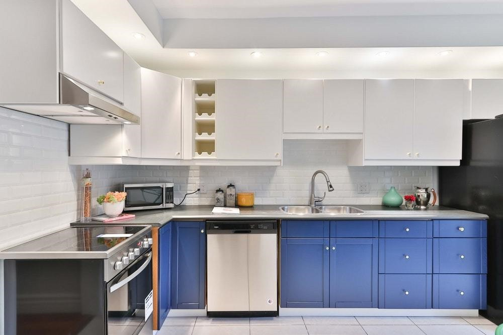 blue white cabinets