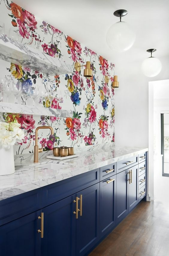 bold accent floral wall in kitchen