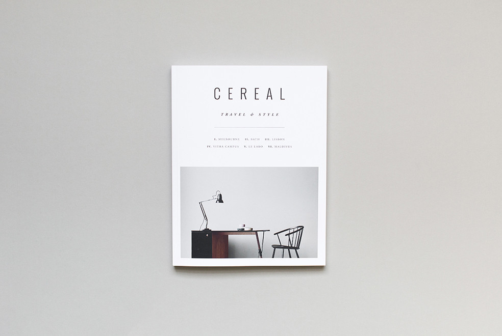 Cereal magazine on front is a picture of a desk with chair and light
