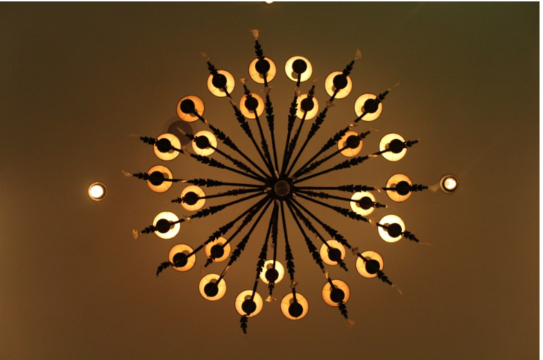view of chandelier from the bottom