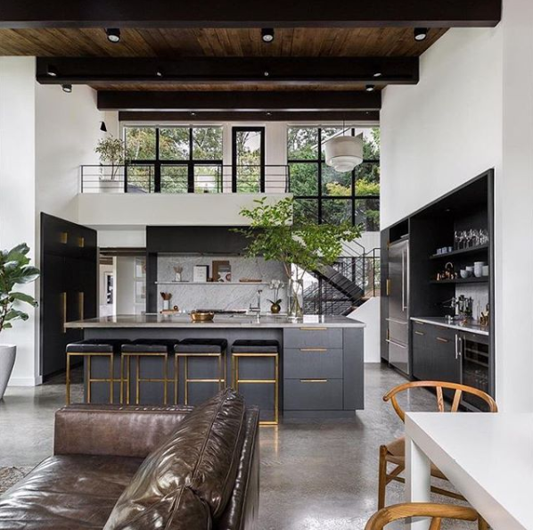 charcoal gray kitchen island within modern home