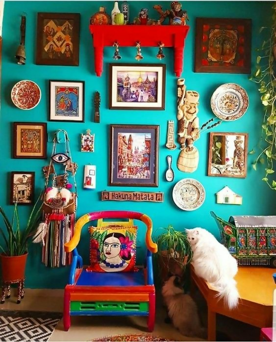 cluttered interior spaces with lots of colorful stuff and a white cat