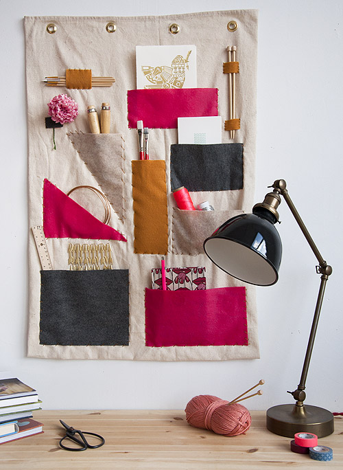 fabric wall organizer with lamp