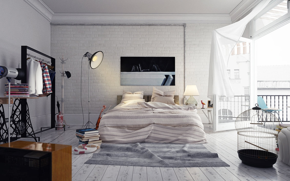 Floor lamp in bedroom with bed