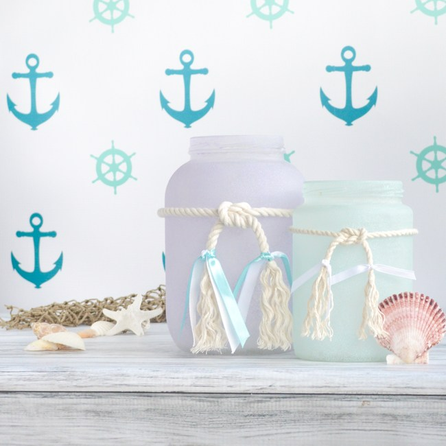 Anchors with sea glass jars