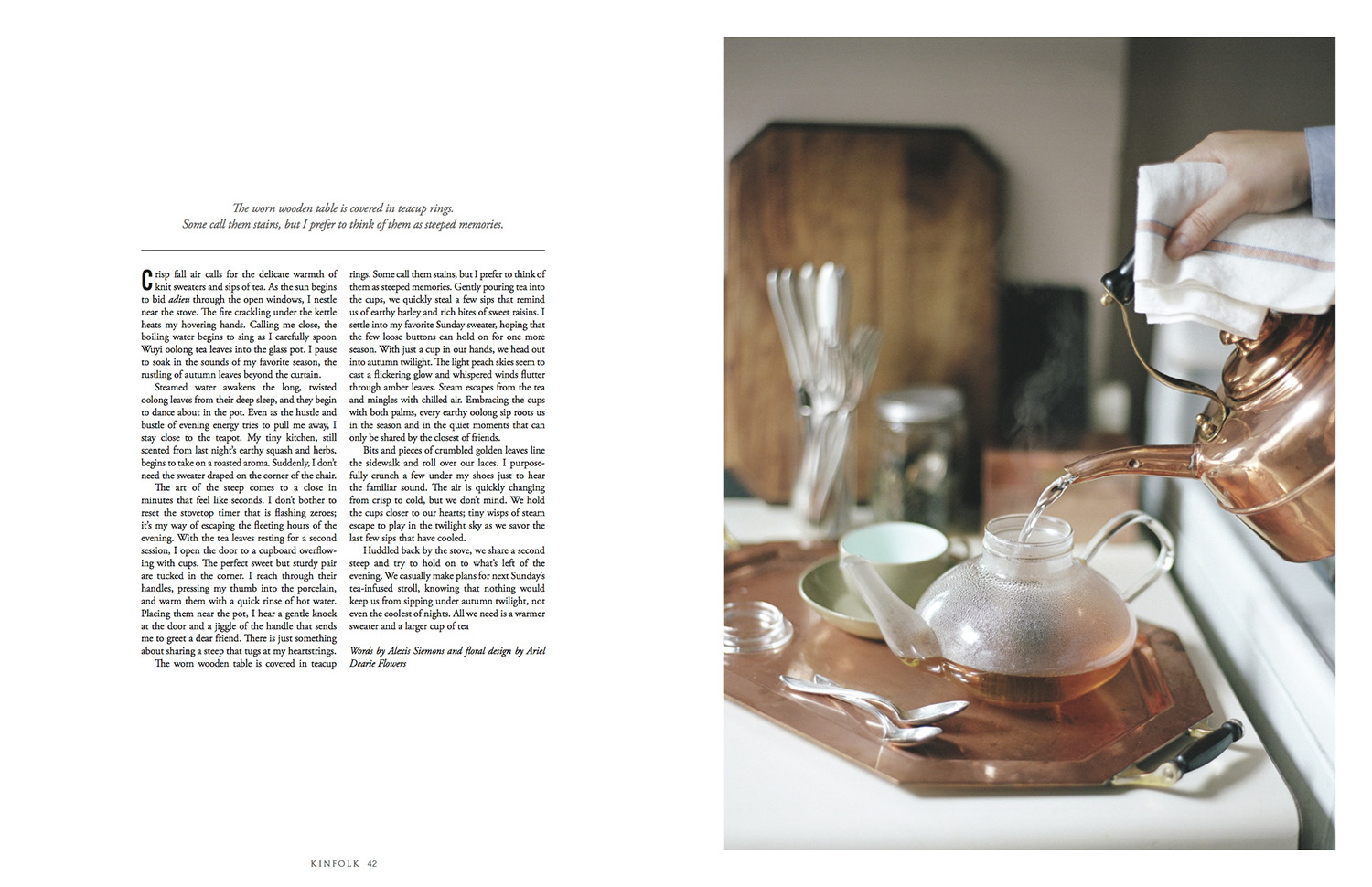 inside of kinfolk magazine picture of tea