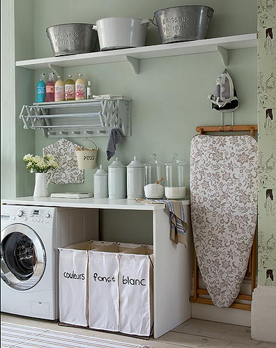 pastel green laundry room