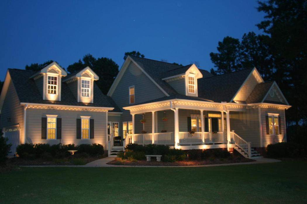 House with LED exterior lighting