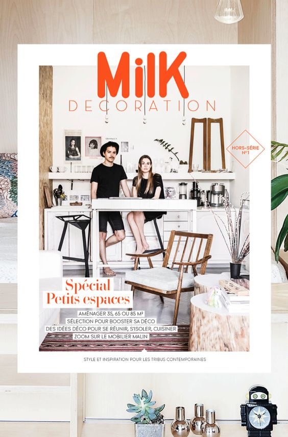 Milk magazine decoration with guy and girl