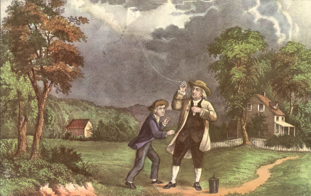 Franklin flying a kite
