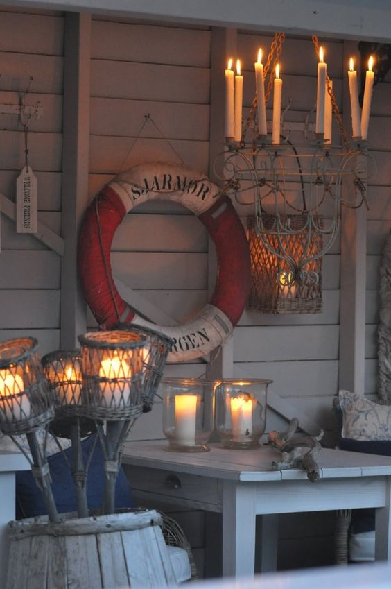 Nautical cottage with candles