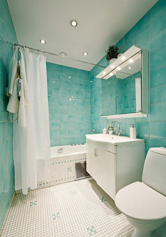 ocean washed turquoise shower tiles