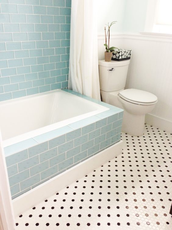 old fashioned baby blue shower tile