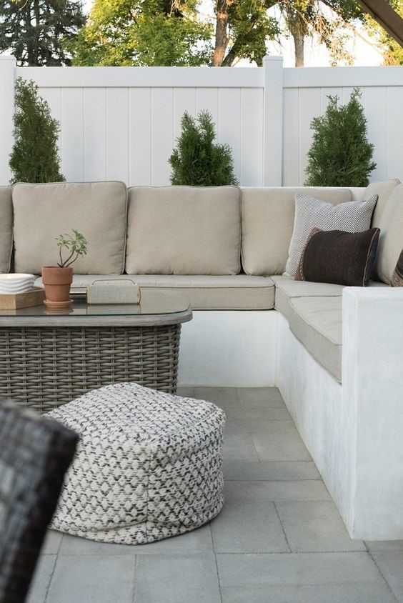 outdoor seating area in backyard