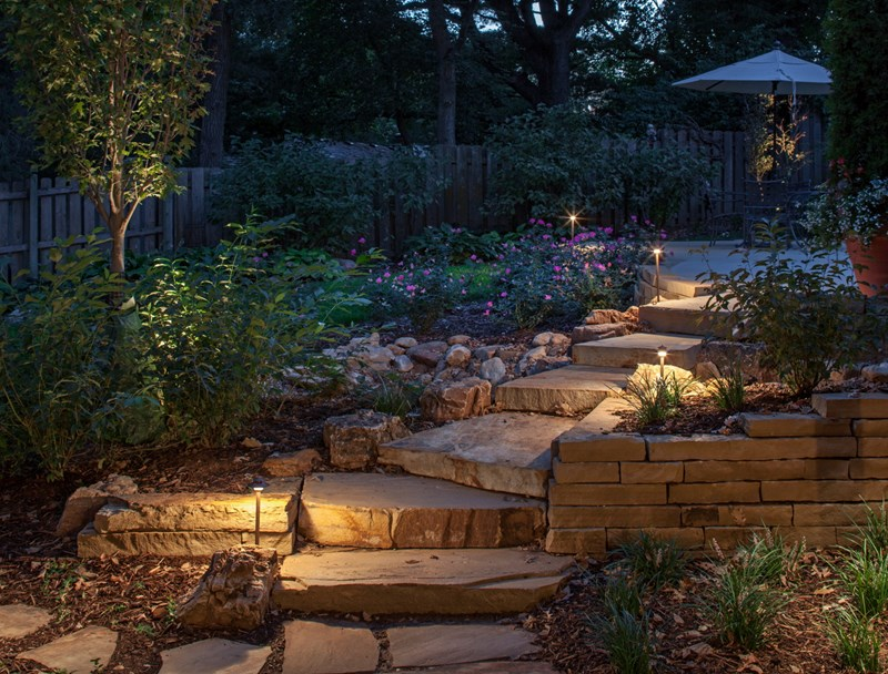 Path lights stone steps mckay landscape lighting
