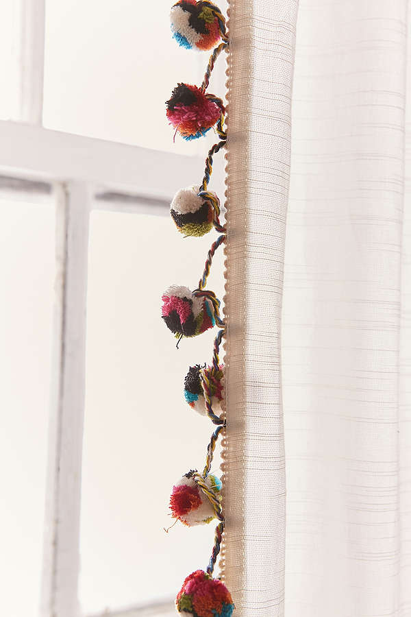 curtains with pompoms