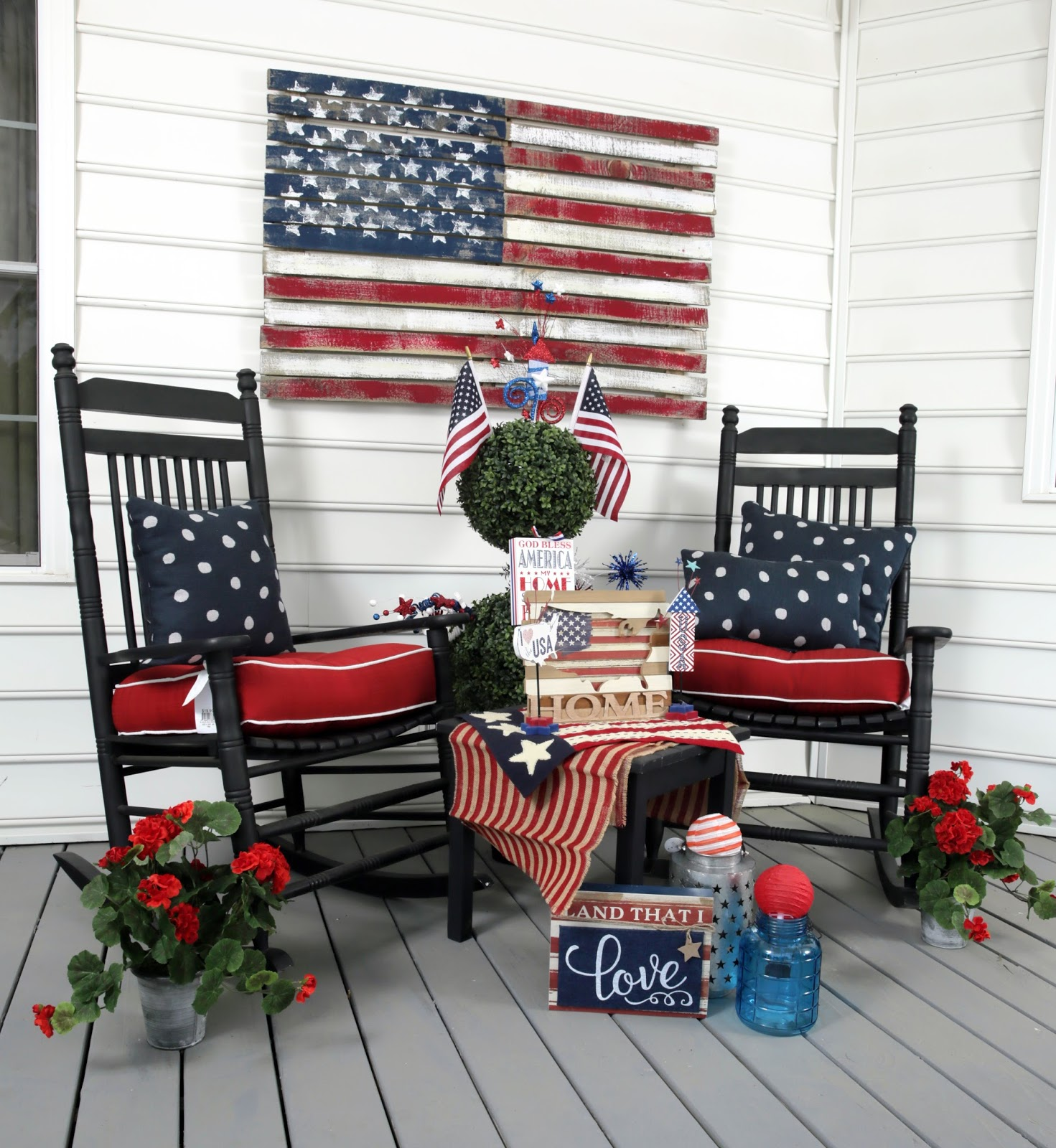 American Flag Porch With Chairs