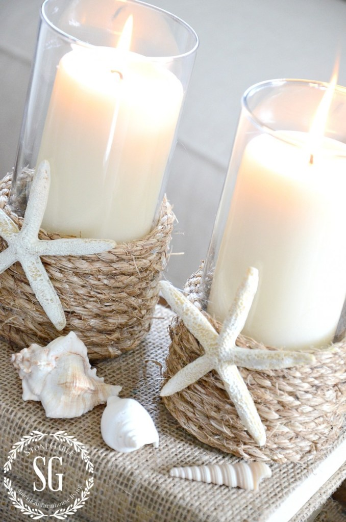 Pottery barn inspired rope wrapped candle holder