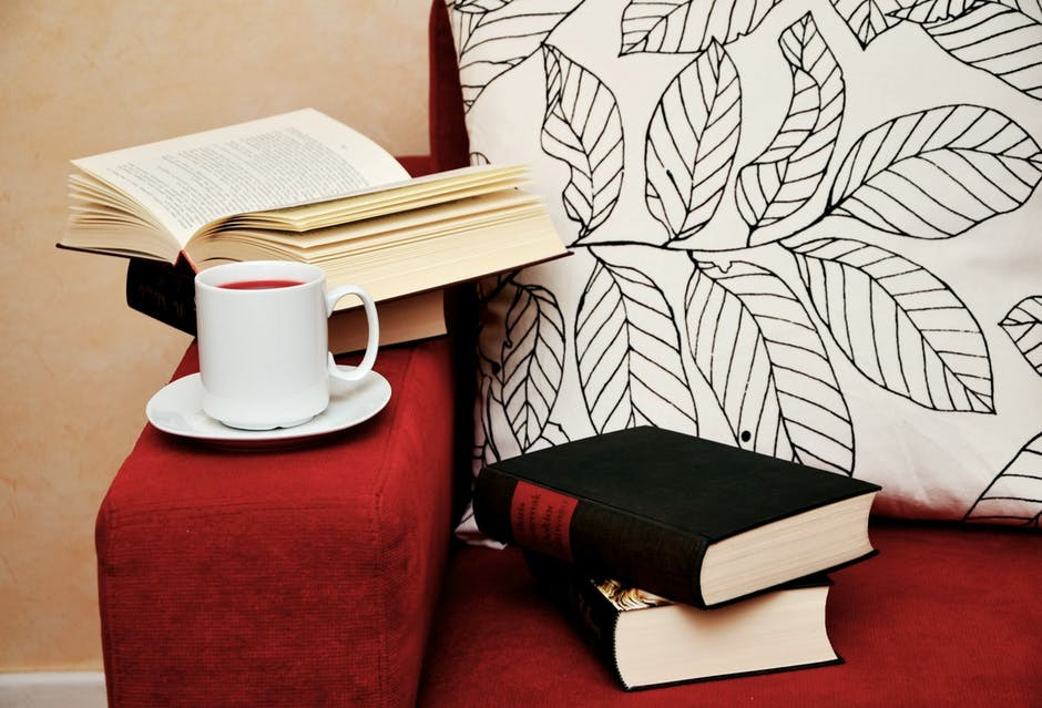 red couch with books to read and tea