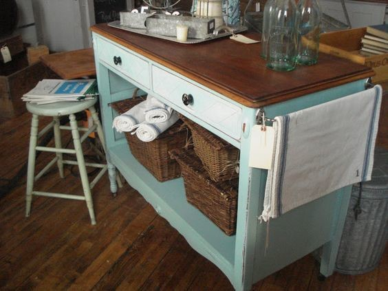 rustic moveable kitchen island in light blue