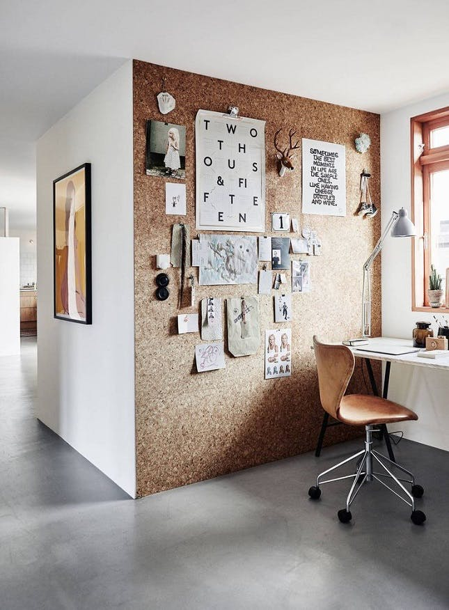 Office wall with desk and chair lamp