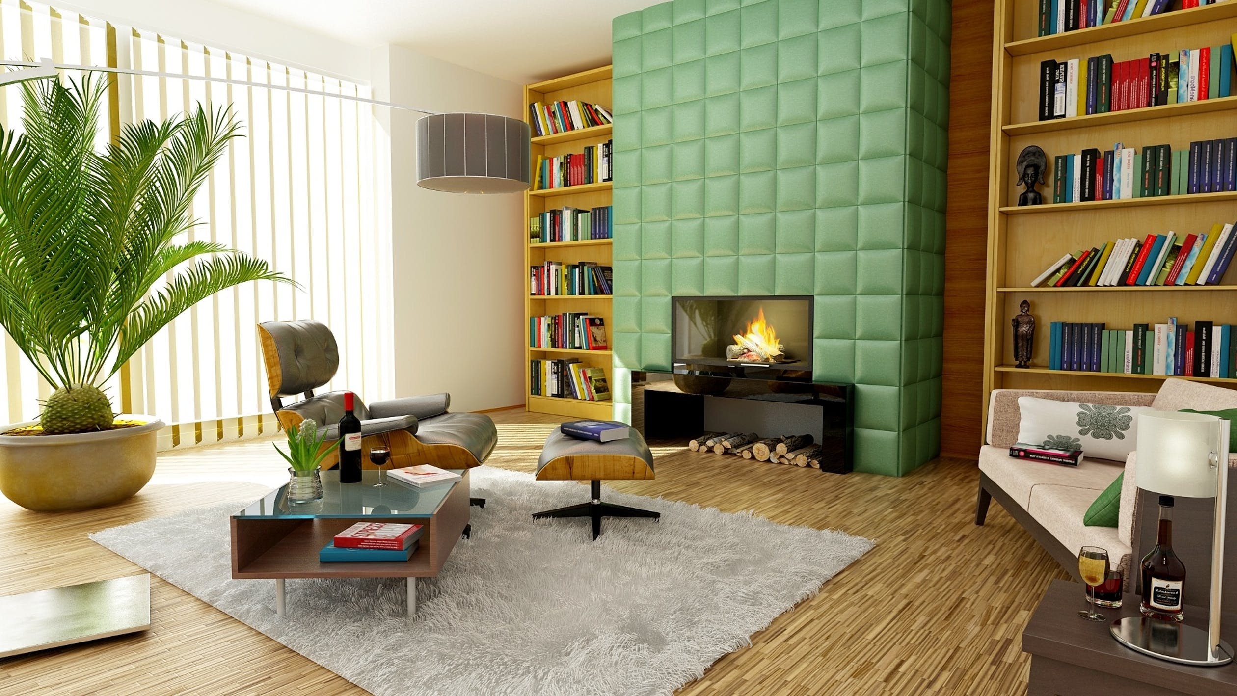 living room with fire place and colorful books