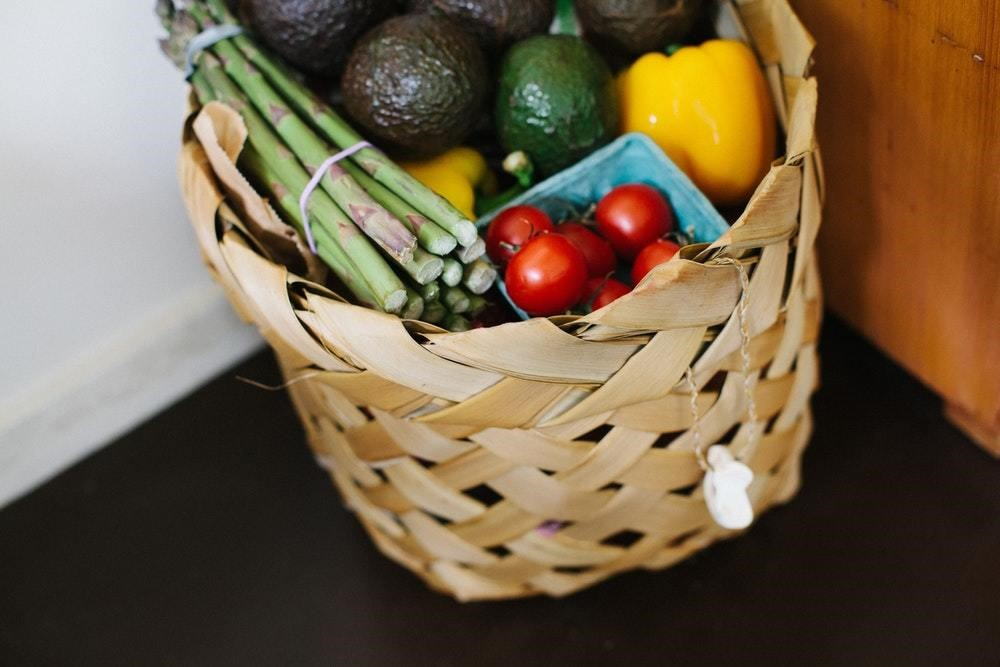 vegetables in a wicker basket
