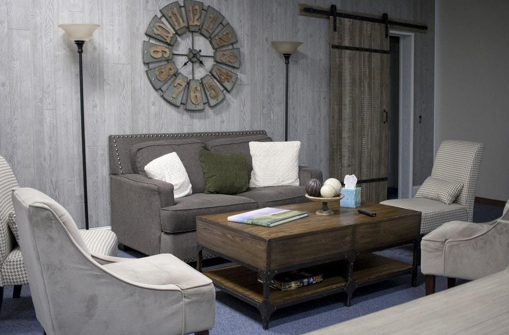 grey sofa with grey undertones in living room