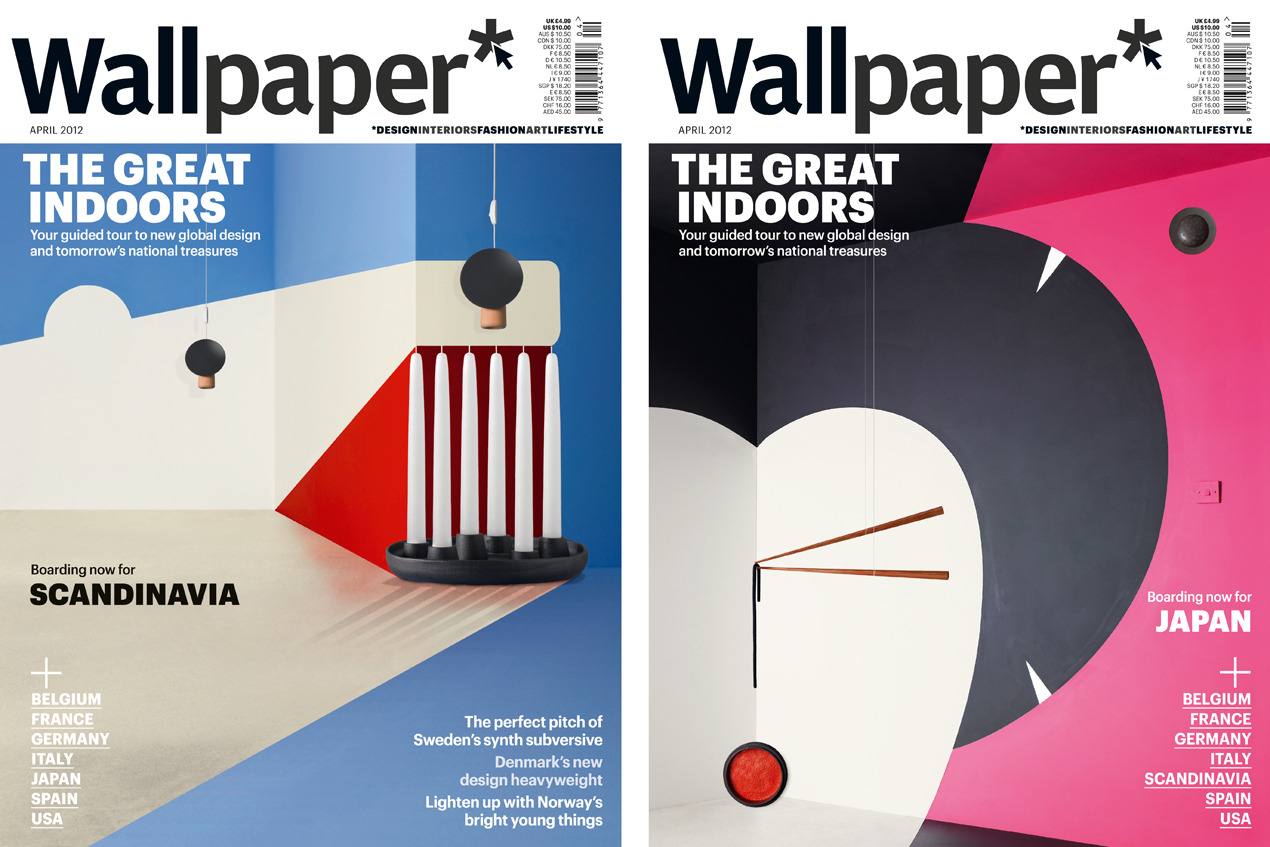 Wallpaper magazines with pink and blue covers