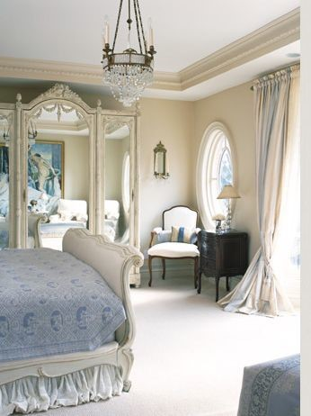 white bedroom with light blue undertones