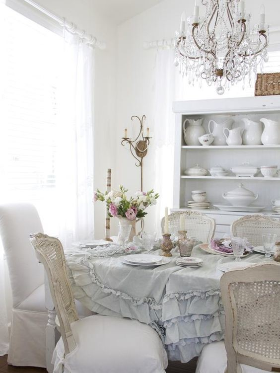 white dreamy dining room