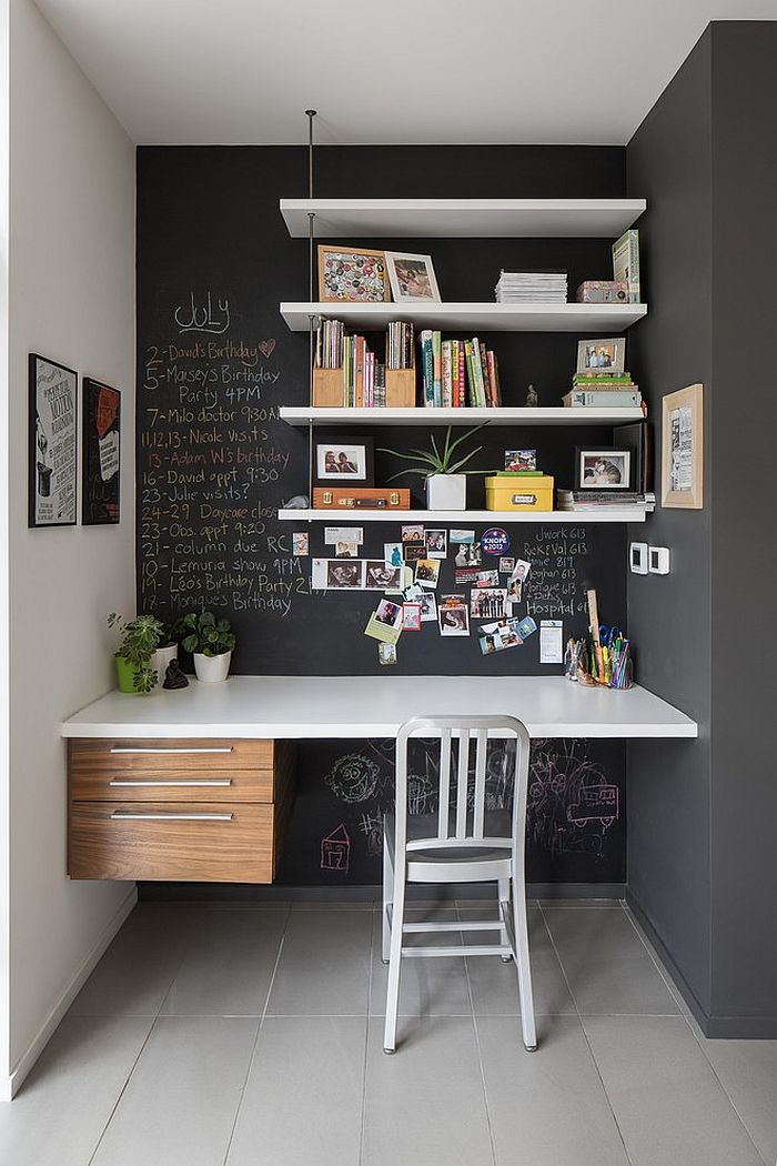 chalk board wall with shelves and desk with chair
