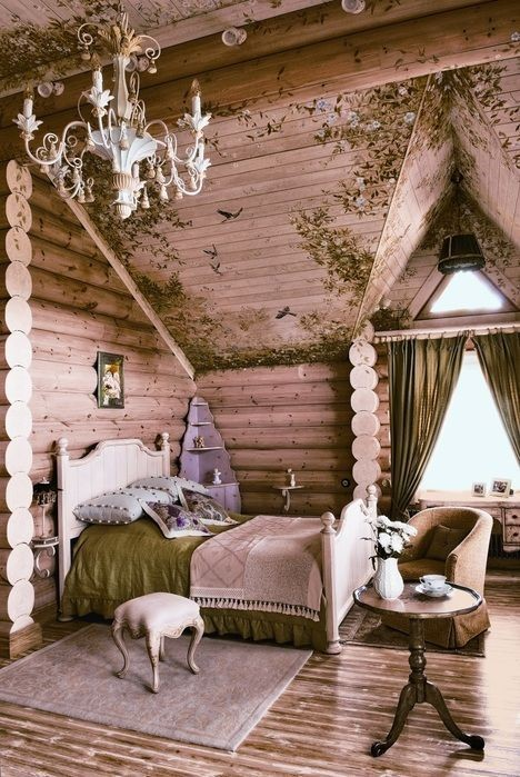wood dreamy cabin bedroom