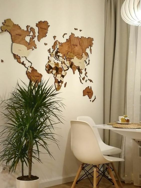 wall art home decor world map wooden world map