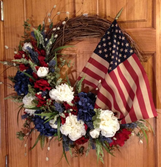 Red white and blue wreath with flag